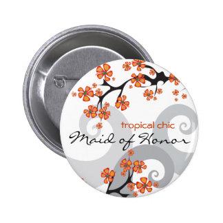 Etiqueta botón tropicales del nombre del boda del pins