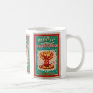 Etiqueta 'Brand atómico del fuego artificial del p Taza De Café