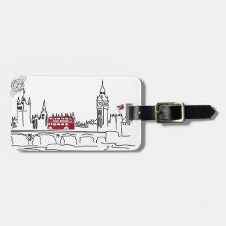 Etiqueta caprichosa del equipaje de Londres Etiquetas Para Maletas