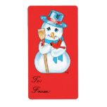 Etiqueta cardinal del regalo del muñeco de nieve a etiqueta de envío