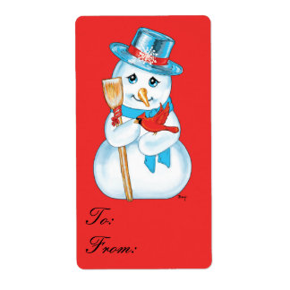 Etiqueta cardinal del regalo del muñeco de nieve etiqueta de envío