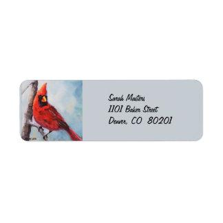 Etiqueta cardinal roja del remite etiquetas de remite