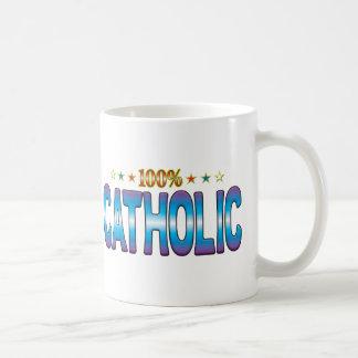 Etiqueta católica v2 de la estrella taza de café
