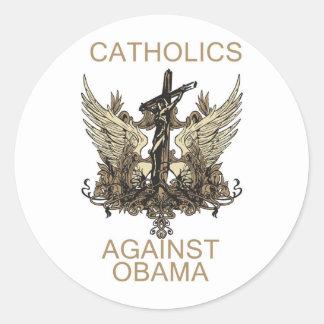 Etiqueta-Católicos contra Obama Pegatina Redonda