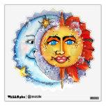 Etiqueta celestial de la pared de Sun y de la luna