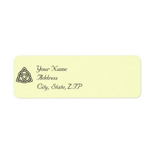 Etiqueta céltica negra del remite del nudo etiqueta de remite