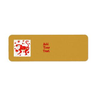 Etiqueta china de Avery de la astrología del mono Etiquetas De Remite