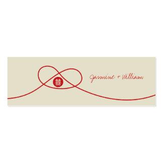 Etiqueta china del regalo de boda del nudo de la tarjetas de visita mini