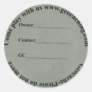 Etiqueta circular del escondrijo
