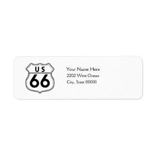 Etiqueta clásica del remite de la ruta 66 de los etiquetas de remite