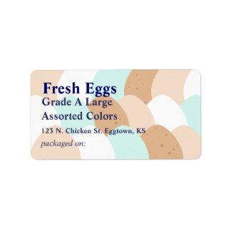 Etiqueta clasificada del huevo etiquetas de dirección