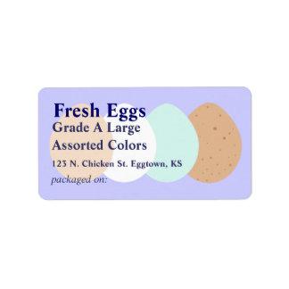 Etiqueta clasificada del huevo etiqueta de dirección