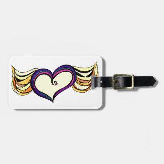 Etiqueta coa alas del equipaje del corazón