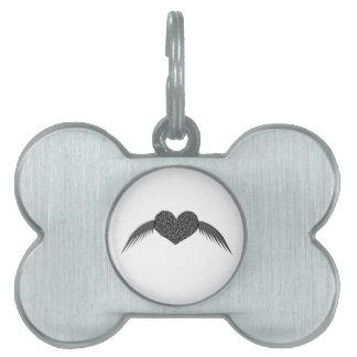 Etiqueta coa alas gótica del mascota del corazón d placas mascota