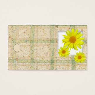 Etiqueta colgante amarilla de las margaritas tarjetas de visita
