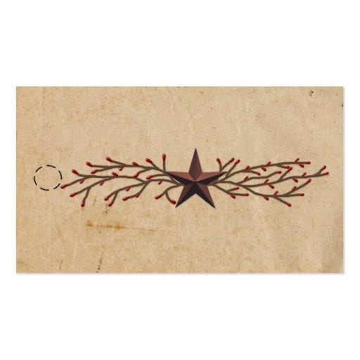 Etiqueta colgante de la estrella y de la baya de tarjetas de visita