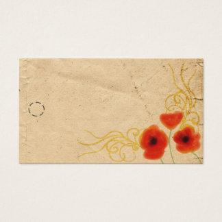 Etiqueta colgante de las amapolas tarjetas de visita