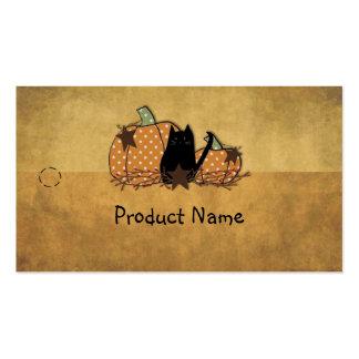 Etiqueta colgante del gato y de las calabazas tarjetas de visita