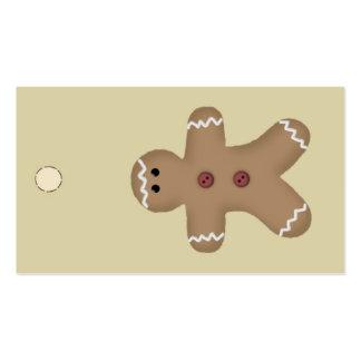 Etiqueta colgante del hombre de pan de jengibre o tarjetas de visita