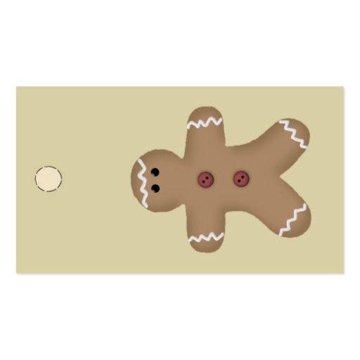 Etiqueta colgante del hombre de pan de jengibre o  plantilla de tarjeta personal