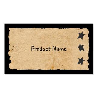 Etiqueta colgante negra de la estrella tarjetas de visita