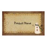 Etiqueta colgante primitiva del muñeco de nieve plantillas de tarjeta de negocio