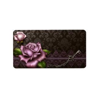 Etiqueta color de rosa barroca media del boticario etiquetas de dirección