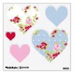 Etiqueta color de rosa de la pared de los corazone