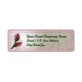 Etiqueta color de rosa del brote etiqueta de remite