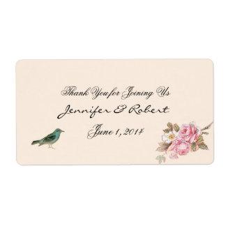 Etiqueta color de rosa del vintage y del petirrojo etiquetas de envío