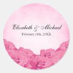 Etiqueta color de rosa rosada del favor del boda d