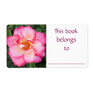 Etiqueta color de rosa rosada del libro etiquetas de envío