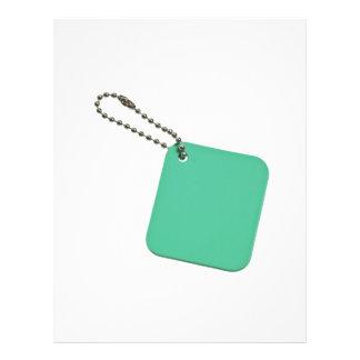 Etiqueta coloreada verde con la cadena tarjetón