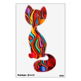 Etiqueta colorida abstracta de la pared del gato vinilo adhesivo