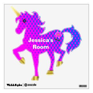 Etiqueta colorida bonita de la pared del unicornio