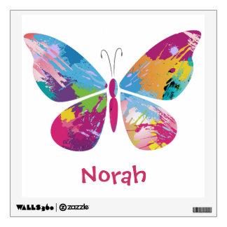 Etiqueta colorida de la pared de la mariposa