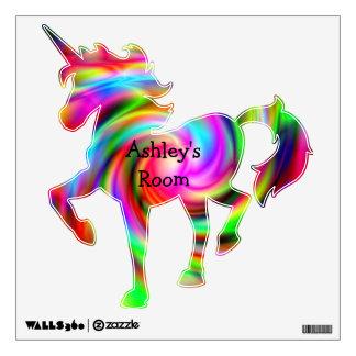 Etiqueta colorida de la pared del unicornio del si