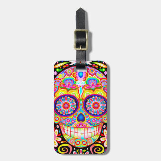 Etiqueta colorida del equipaje del cráneo del azúc etiqueta de maleta