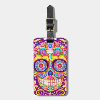 Etiqueta colorida del equipaje del cráneo del azúc etiqueta de equipaje
