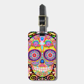 Etiqueta colorida del equipaje del cráneo del etiqueta de maleta