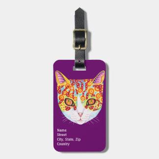 ¡Etiqueta colorida del equipaje del gato - modifiq
