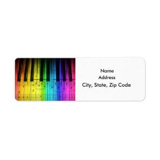 Etiqueta colorida del piano de cola del teclado de etiquetas de remite