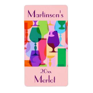 Etiqueta colorida del vino de los vidrios etiqueta de envío