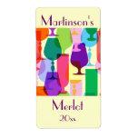 Etiqueta colorida del vino de los vidrios etiquetas de envío