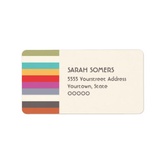 Etiqueta colorida linda de las rayas del arco iris etiquetas de dirección