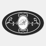 Etiqueta con monograma blanca negra del jabón del