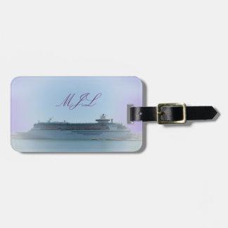 Etiqueta con monograma del bolso de las memorias etiqueta de equipaje