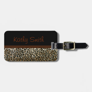 Etiqueta con monograma del bolso del estampado leo etiquetas bolsa