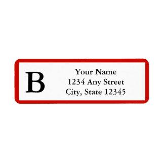 Etiqueta con monograma del remite del rojo cereza  etiquetas de remite