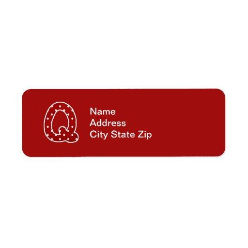 Etiqueta con monograma roja manchada (q) etiqueta de remite
